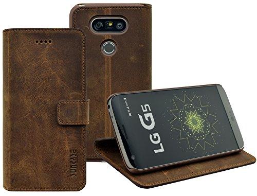 LG G5 | LG G5 SE | Suncase Book-Style (Slim-Fit) Ledertasche Leder Tasche Handytasche Schutzhülle Case Hülle (mit Standfunktion und Kartenfach) antik coffee