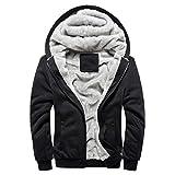 Herren Winterjacke,Moonuy Herren Boy M-5XL Hoodie Winter Warm Fleece Reißverschluss Pullover Charme Stilvolle Jacke Patchwork Hot Outwear Baumwollmantel in grau, rot, schwarz (Schwarz 2, L)