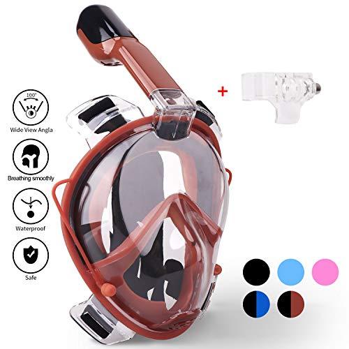 Schnorchel Maske 180° Grad Panorama- Vollgesichts- Frei Atmen- Design-Schnorchel Maske Tauchmaske- MEHR Anti-Antibeschlag und Anti-Leck -2 eingebaute Atemschläuche- Eingebaute Ohrstöpsel (Brown, S-M)