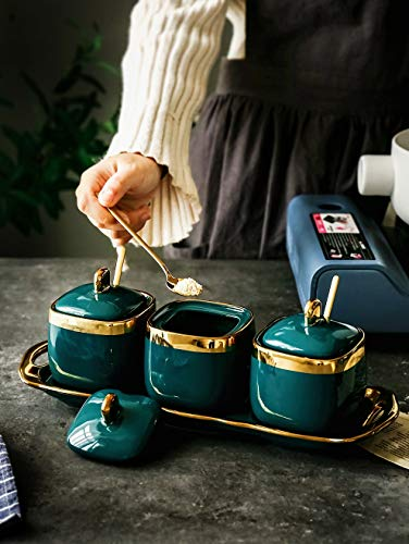 hnxsy Nordic Light Luxury Emerald Ceramic Sugar Can Salt Tank Seasoning Tank Seasoning Bottle Seasoning Bowl Flower Tea Jar Flower Sugar Bowl
