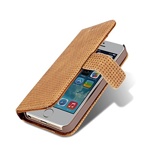 JIALUN-Telefon Fall Retro Matte Breatheable Air-Mesh PU Leder Brieftasche Case Cover mit Kickstand Card Slots für iPhone 5 5s und SE ( Color : Yellow ) Yellow