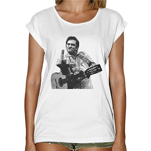 T-Shirt Donna Fashion Johnny Cash Chitarra Fuck You - Bianco