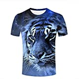 Mens 3D Printed Casual T-Shirts Blue Tiger Face Animal Head Full Print Crewneck Short Sleeve Fashion Couple Tees M