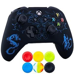9CDeer 1 x Stück SchutzfolieLasergravur Silikon Hülle + 6 Thumb Grips & Staubdichte Stecker für Xbox One S/X-Controller…