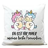 Wandtattoo-Loft Kissen Für Immer Meine Beste Freundin - süße Einhörner - Polyester 40 x 40 cm mit Füllung