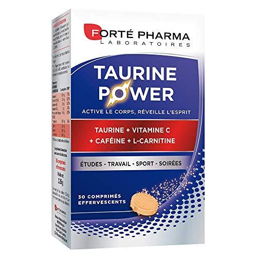 Forté Pharma Taurine Power | Complément alimentaire à base de Taurine, caféine et vitamine C | Booster d'énergie immédiate | 30 comprimés effervescents = 1 mois