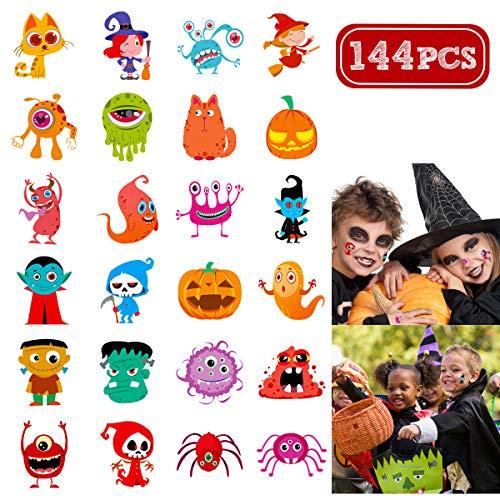 Geld Für Kostüm Kleinkind Tasche - Unomor 144 Sortierte Halloween Abwaschbare Tattoos, 24 Sticker mitSüßen Designs ALS Kinder Tattoos