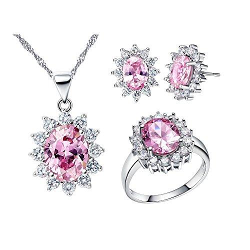 Uloveido Rosa CZ Stein Diamant Brautschmuck Set Günstige Ohrringe Halskette und Ring für Mädchen T466