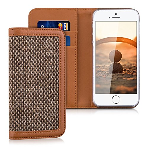 kalibri-wallet-case-cover-donna-for-apple-iphone-se-5-5s-cover-flip-tweed-artificial-leather-bag-wit