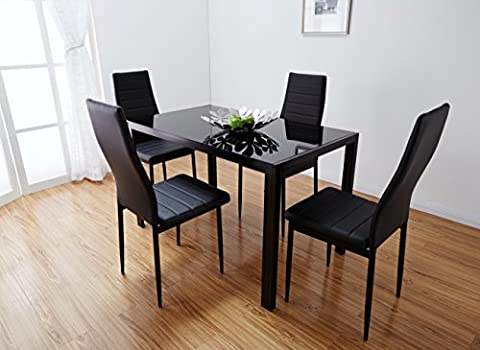Black Glass Dining Table Set with 4 Faux Leather Chairs Brand New (Black)