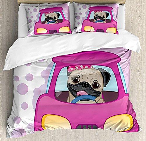 Mops 3-teiliges Bettwäscheset Bettbezug-Set, Hundefahren auf dem niedlichen rosa Auto Girly Design Happy Moments und Love Animals Print, 3-teiliges Tröster- / Qulit-Bezug-Set mit 2 Kissenbezügen, Ros -