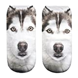 "Girls Boys Women's Men's Socks Funky Full Print Low Ankle Jogging Running Fitness Sport Yoga Summer Funky Gym Animal 3D Fashion Socks (One Size Total Length: app 15cm-22cm/ 6.7""-9"", Husky Dog)"