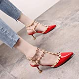 Yukun zapatos de tacón alto Studded Pointed High Heels Female Word Buckle Hollow Patent Leather Stiletto Cat with Single Shoes, 34, Red