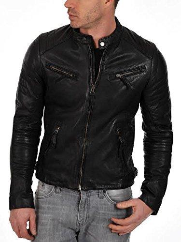 Iftekhar Men's Pure leather Jacket - Black - (Iftekhar01 - M)