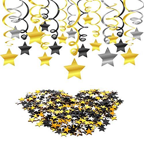Howaf Schwarz Gold Deko hängende Spiralen Girlande (30 Teilig) und Sterne Tisch Konfetti für Hochzeiten, Baby Party, Neujahr, Geburtstag Dekoration Schwarz Gold
