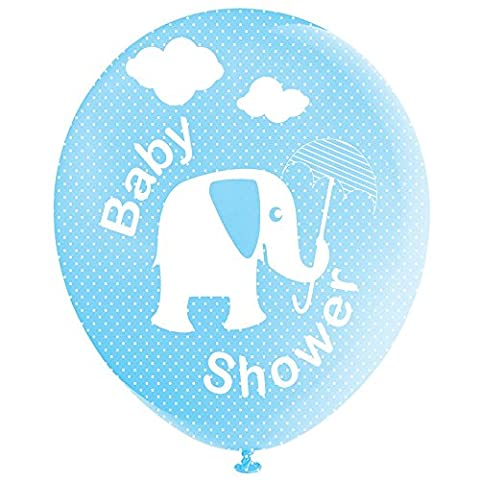 Baby Blue Elephant and Umbrella Baby Shower Balloons - Ideal for a baby boy's shower, Perfect for decorating your special day, Coordinate with other Blue, elephant decorations (Pack of 8)