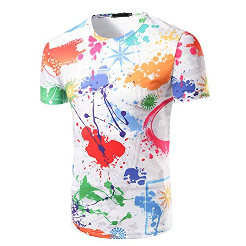 Zhiyuanan uomo multicolore t-shirt stampata maglietta con manica corta casuale inchiostro creativo grafiche stampato girocollo tee tops m