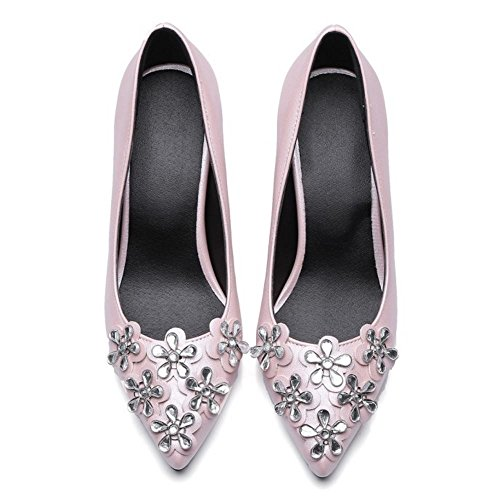 COOLCEPT Femmes Elegant Confortable Talons de Chaton Escarpins Slip on Robe Chaussures New Rose