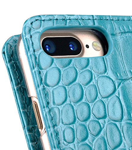 Apple Iphone 7 Melkco Jacka Type Premium Leather Case with Premium Leather Hand Crafted Good Protection,Premium Feel-Red LC Turquoise Blue 1