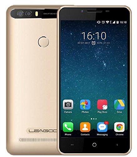 LEAGOO KIICAA POWER - 5 pulgadas Android 7.0 3G smartphone con 4000mAh batería, Triple cámaras (5MP + 5MP + 8MP), Quad Core 1.3GHz 2GB RAM 16GB Fingerprint - Oro