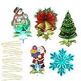 5pcs Weihnachtsmann/Baum Glocke Schneemann Schneeflocken Stab Deko Set