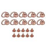BQLZR 2x1.3cm Rose Goldene Eisen Nieten Nieten Schraube Zur¨¹ck Runde Kopf O Ring f¨¹r DIY Leder handwerk Koffer Handtasche Pack von 10