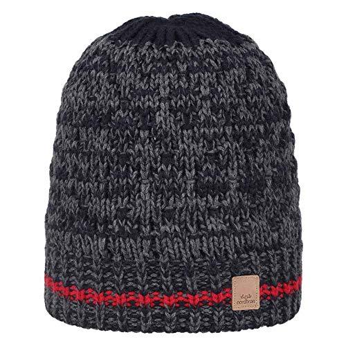 Nordbron 7148C036 Dundee Beanie Mütze Jungen Kinder warme, stylisch, mehrfarbige Kinderstrickmütze, Kindermütze für Jungen, mit Fleece-Einsatz,Red