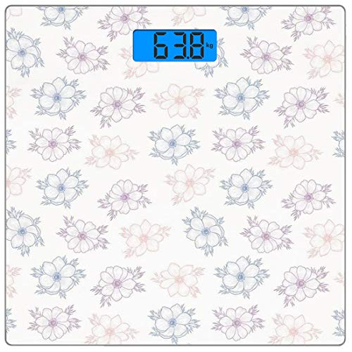 Escala digital de peso corporal de precisión Square Flor de anémona Báscula...