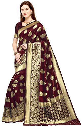 KEDARFAB Women's Banarasi Silk Saree With Blouse Piece (Maroon Gold)
