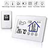 TEKFUN Wetterstation Funk mit Außensensor Wettervorhersage, Digital Thermometer-Hygrometer für Innen und außen, mit Uhrzeitanzeige,Touchscreen (Weiß)