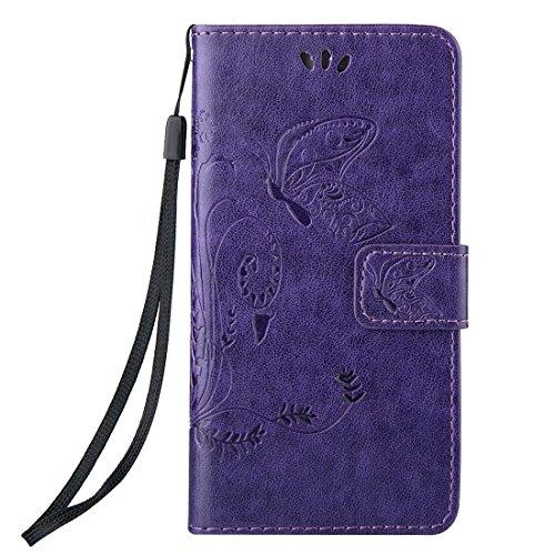 iPhone Case Cover Pour iPhone 5 & 5s & SE Crazy Horse Texture Impression horizontale Flip étui en cuir avec Holder & Card Slots & Wallet & Lanyard ( Color : White ) Purple