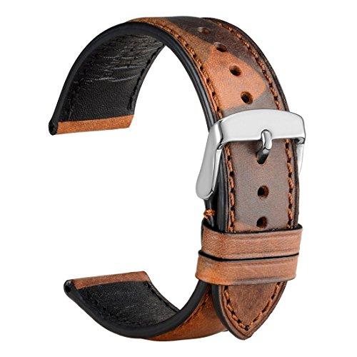 WOCCI Orologio cinturino in pelle con mimetica, fibbia in acciaio...