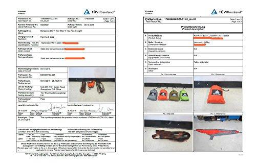 NatureFun Ultraleichte Camping Hängematte / 300kg Tragfähigkeit, (300 x 140 cm) Atmungsaktiv, schnell trocknende Fallschirm Nylon - 6