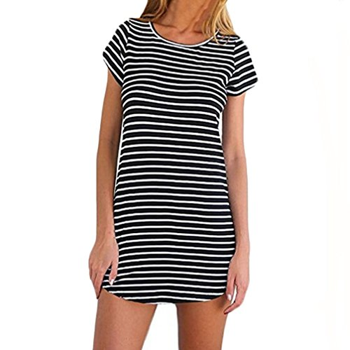 Kleid Damen,Binggong Neue Frauen Rundhalsausschnitt Kurzarm Striped Loose T-Shirt Minikleid Populäre Reizvoller Strandkleid Sommerkleider Strandkleider Weiß (S, Schwarz) - Schickes Kurzarm-minikleid