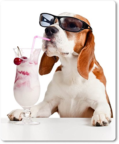 Mauspad / Mouse Pad aus Textil mit Rückseite aus Kautschuk rutschfest für alle Maustypen Motiv: Beagle mit Sonnenbrille und Eisbecher [20]