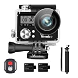 Vemico Action Cam, Action Camera 4K WiFi Sport Cam Impermeabile Casco Camera Fotocamera Subacquea 16MP Ultra HD LCD 2.0 with 2.4G Telecomando 2 * 1050mAh Batterie Ricaricabile e Selfie Stick