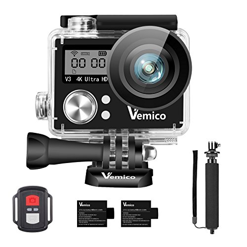 Galleria fotografica Action Cam, Vemico Action Camera 4K WIFI Sport Cam Impermeabile Casco Camera Fotocamera Subacquea 16MP Ultra HD LCD 2.0 with 2.4G Telecomando 2*1050mAh Batterie Ricaricabile e Selfie Stick
