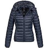 Marikoo Damen Stepp Jacke Daunen Look Gesteppt Übergang XS-XXL 10-Farben, Größe:XL / 42;Farbe:Navy