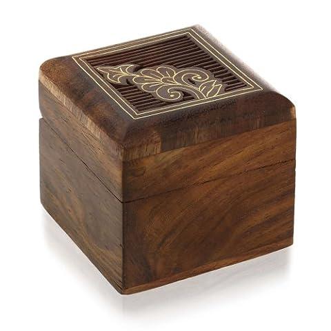 Boîte en bois pour bagues de petit cadeau de bijoux
