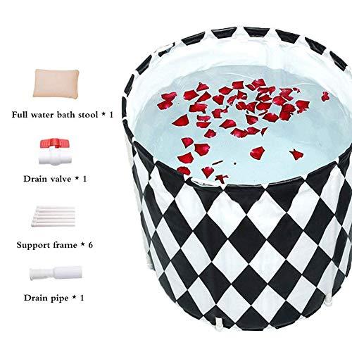 Dysel Alloy Bracket Bath Barrel Faltbare Badewanne mit Kissen An-Aus-Ventil, Verdickte Whole Body Gesundheit Badewanne, Home Spa Badewannen Baby-Swimmingpool-Kind-Bad-Fass-HaushaltsGeometry