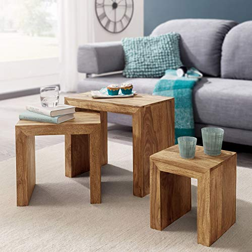 Finebuy 3er Set Satztisch Massiv Holz Wohnzimmer Tisch Landhaus Stil Beistelltisch Dunkel Braun Naturholz Couchtisch Natur Produkt Wohnzimmermobel