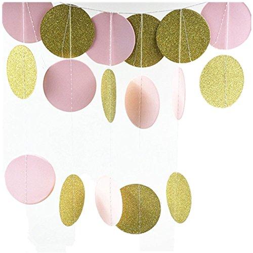 Cosanter 3m Gold Glitter und Pastellfarben Rosa Garland Deko Glitzer Papier Kreis Girlande multicolored