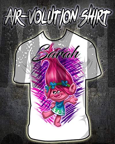Mythic Airbrush Personalisierte Airbrush Poppy Troll Hemd Kinder- / Erwachsen-Größen Weiß -