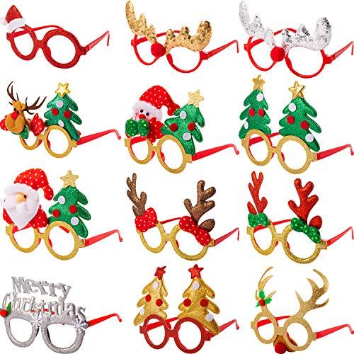 12 Paare Weihnachten Brillen Rahmen 3D Neuheit Brillen Weihnachten Party Requisiten Brille für Erwachsene Damen Fotos Fotografie Einheitsgröße Passen Meisten Menschen (Stil B)