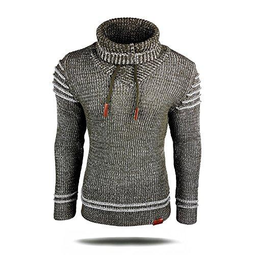 Gestreifter Strick-pullover (Avroni Strickpullover Schalkragen Slim Fit Pullover Strick Herren Schal A1-13275, Größe:XL, Farbe:Khaki)