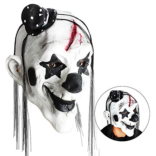 Owude maschera da clown spaventoso, horror creepy latex clown maschere per adulti haunted house dressing halloween costume masquerade party puntelli cosplay (devil clown)