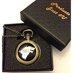 Game Of Thrones Winter Is Coming Quartz Pocket Watch Necklace - Antique Bronze Effect - GIFT BOXED WITH FREE SPARE BATTERY