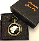 """Reloj de bolsillo de Juego de Tronos con texto """"Winter Is Coming"""", bronce envejecido, cuarzo, en estuche de regalo"""