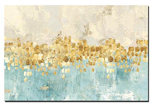 Fajerminart Leinwand Moderne Gemälde Wandkunst - Goldenen Abstrakte Malerei Leinwand Gemälde Wand Kunst Dekor Geeignet Wohnzimmer, Schlafzimmer, Büro Wandmalerei, Kein Rahmen (80x120cm)