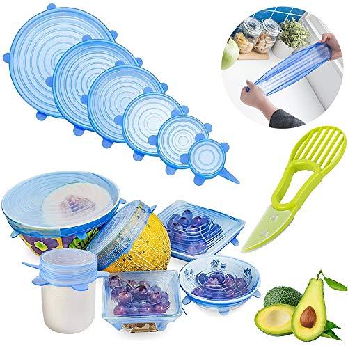 GESCHOK Silikondeckel, 6er-Pack in verschiedenen Dehnbare Größen Silikon-Stretch-Deckel Food Saver Covers Sicher für Dosen, Schüsseln, Becher, etc